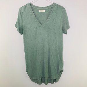 Cloth & Stone Basic V-Neck Tee Green M